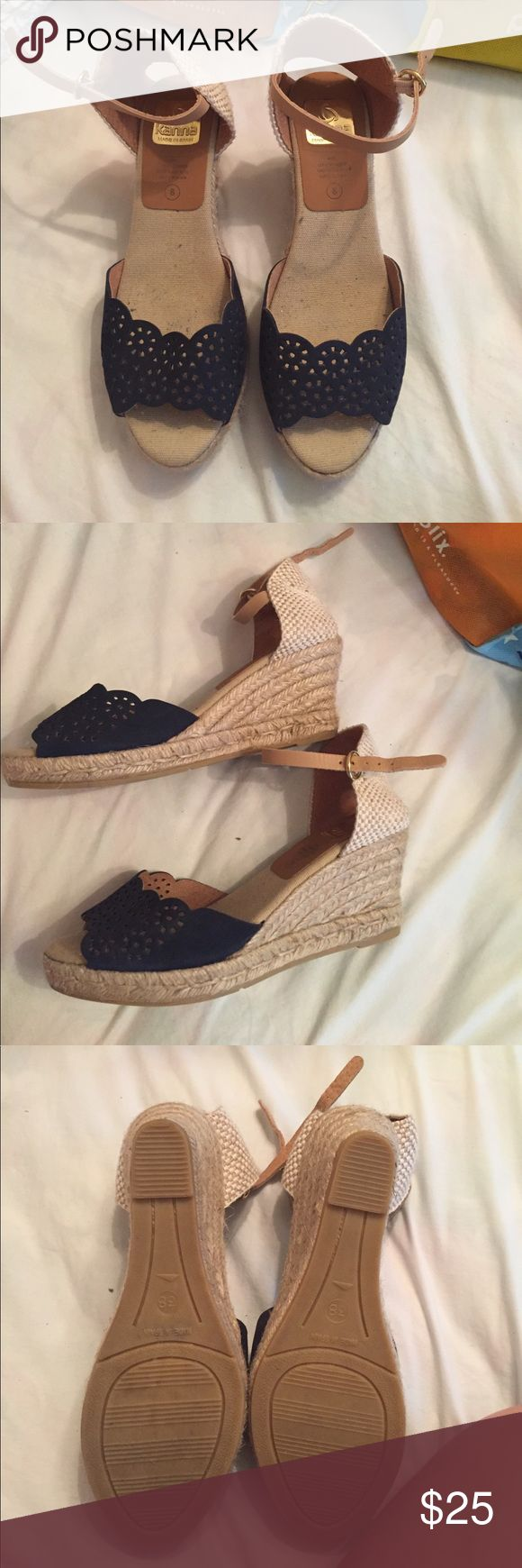 Scalloped Navy Wedges So comfy and cute. Navy with rope wedge. Heel is about 3 inches. Shoes Wedges