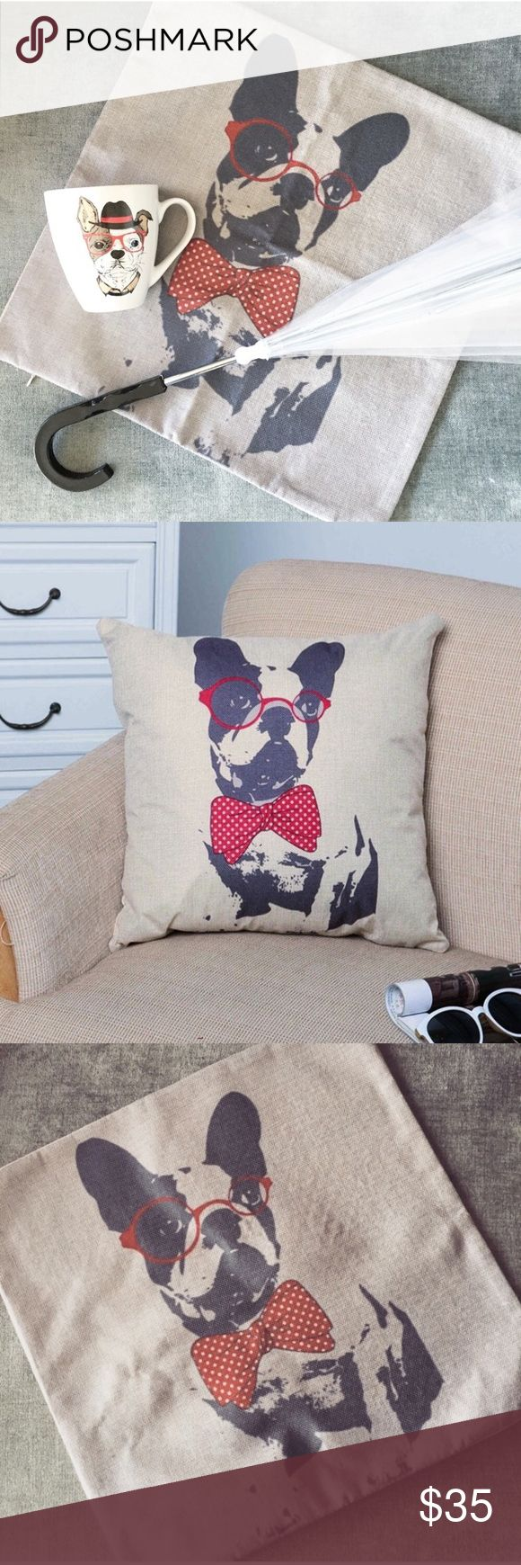 DOG LOVER SET mug dogs umbrella and pillow case Great condition. Never used. Perfect for a Boston terrier lover owner. Black white red. Accessories