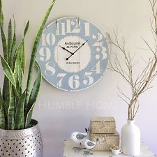 Large 60cm WHITE/BLUE/Vintage Rustic Look Wall Clock/French Provincial