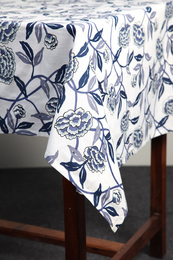 Blue Floral tablecloth by Suraaj Linens