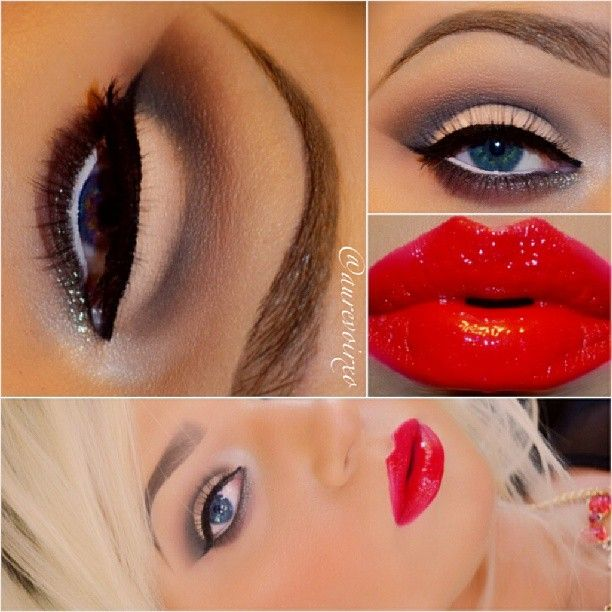 Red lipstick with smokey eye!