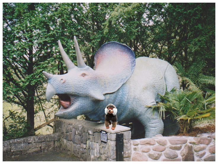 Rashid in his toyed from at the Dan-yr-Ogof Showcaves and Dinosaur Park in Wales where the twins first encounter the immortal medieval knight Cadeyrn Llewellyn.