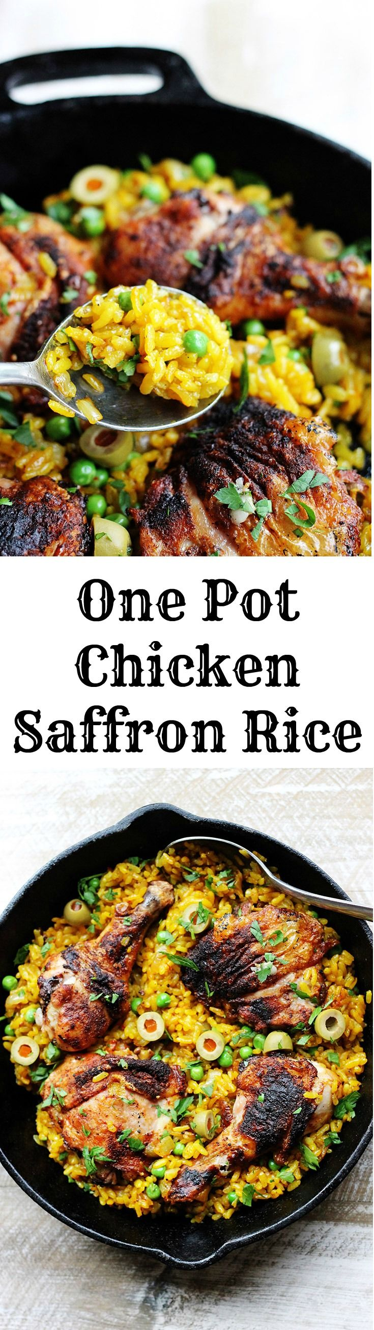 One pot chicken saffron rice with saffron, peas, olives and Piementon is an easy weeknight meal that requires minimal work. The oven does the job for you.