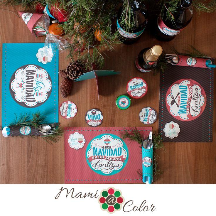 Set de Mesa Navidad. Manteles individuales en A3, porta cubiertos y coasters (posa vasos) listos para imprimir y recortar #imprimibles #navidad #etiquetas #recuerdos #decoración #celebración #individuales #portacubiertos #coasters