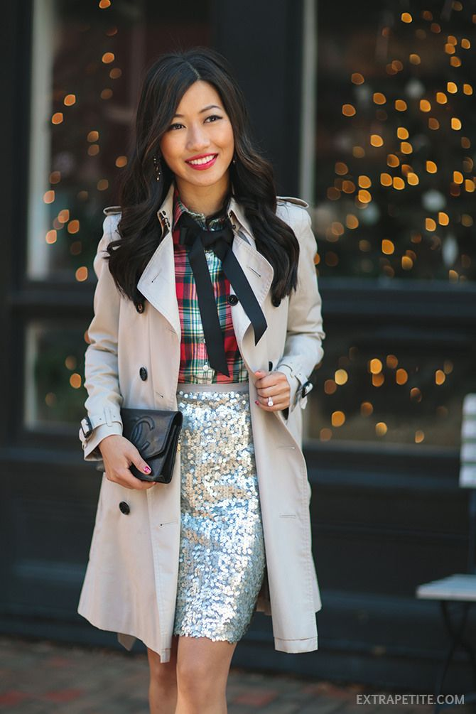 ExtraPetite.com - Plaid, Bow   Sequins // Holiday office party outfit ideas