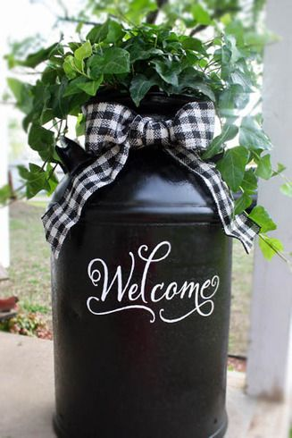 """Recycled """"Welcome"""" Milk Can : Gallery : A Cherry On Top--would love to recreate this with cattails and burlap ribbon for fall!"""