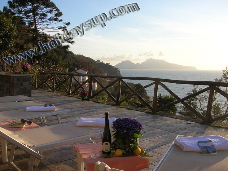 Large terrace with private pool, solarium, bbq area, outside shower and pizza oven at villa accommodation in Sorrento Coast  More details on: http://www.holidaysup.com  website!