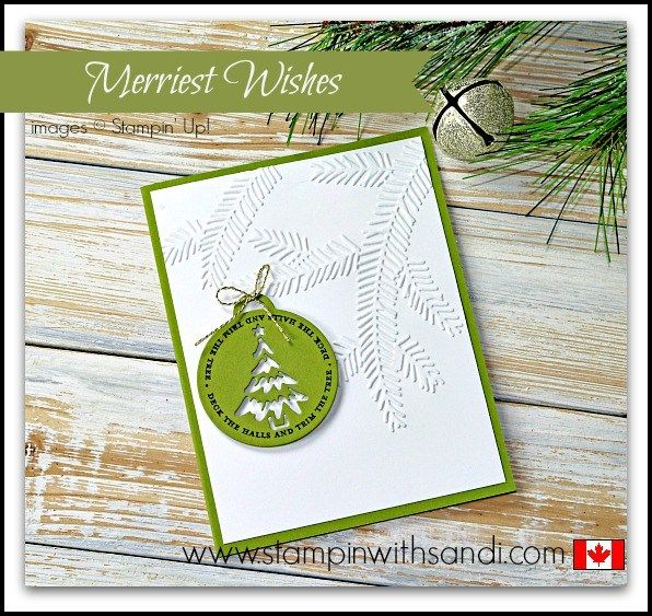 Stampin Up Merriest Wishes Christmas Card in 10 minutes or Less by Sandi @ www.stampinwithsandi.com - card recipe and instructions are on my blog for you