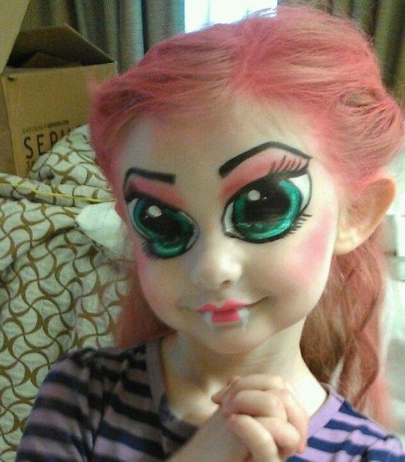 Cute Little Girl Face Paint  Halloween Makeup, Halloween -3708