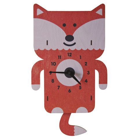 Wonderful Pendulum Clock   Fox. Fun Natural Birch Wood Clock With A Cool 3D Pop Out