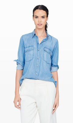 Women | Rylie Light Denim Shirt | Club Monaco