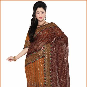 Maroon Net and Faux Georgette Lehenga Style Saree with Readymade Blouse