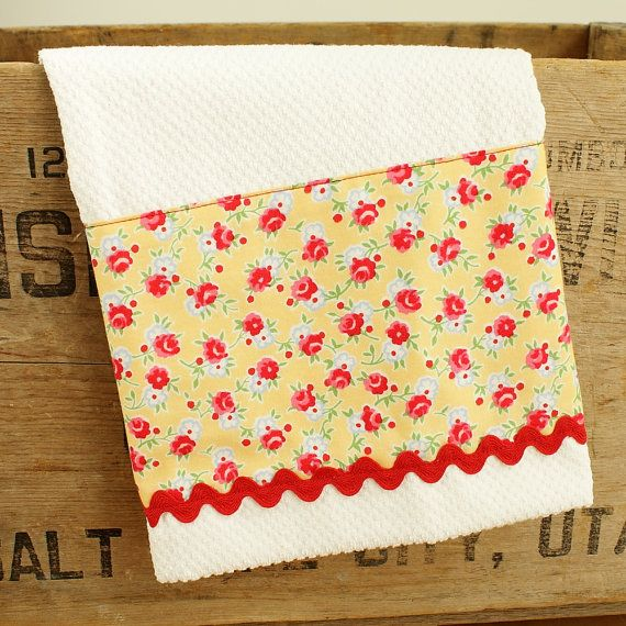 Yellow Red and Pink Fabric Kitchen Towel Tea Towel by TerraceHill