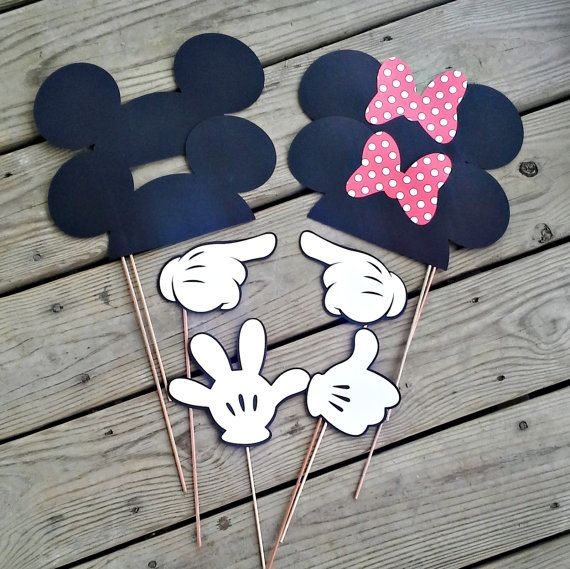 Mickey & Minnie Photo Booth Props - Set of 8 Set up a fun photo booth and your little ones birthday party! These props are adorable to capture