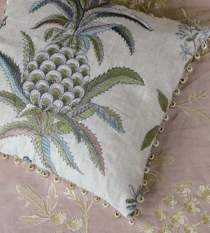 Tropical Interior Trend | Exotic Pineapple Silk Fabric by GP & J Baker | Jane Clayton