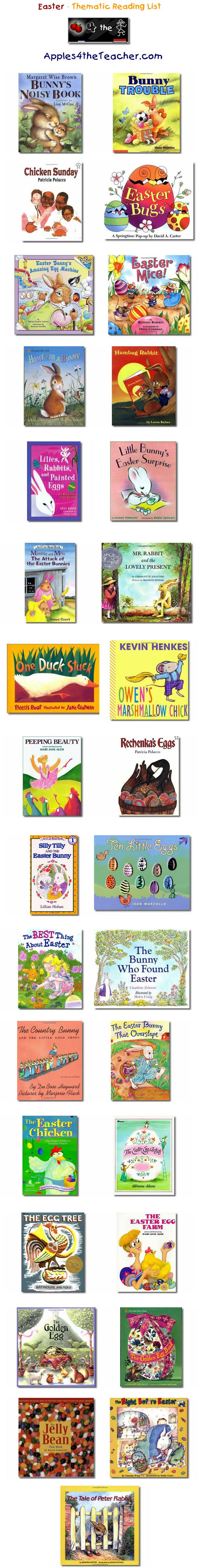Suggested thematic reading list for Easter - Easter books for kids.   http://www.apples4theteacher.com/holidays/easter-fun/kids-books/