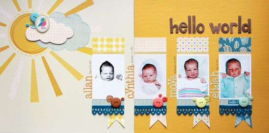 """""""Hello World"""" scrapbook layout by Cindy Tobey for Creating Keepsakes magazine's Baby Memories Kit. Includes instructions for 8 completed pages; $29.99. #scrapbook #scrapbooking"""