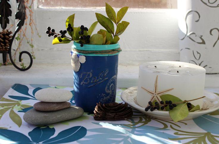 Festive Beach Holiday Painted Ball Jar with Seaglass & shell , Coastal Christmas Vase , Holiday Decorating by ElaLakeDesign on Etsy $18.75 #paintedballjar #holidayballjar #beachballjar #coastalholiday #holidayhomedecor #christmasdecoration #beachchristmas
