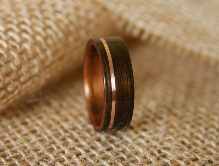 Mens Wooden Wedding Band With 14k Rose Gold Inlay In Macassar Ebony Wood Koa
