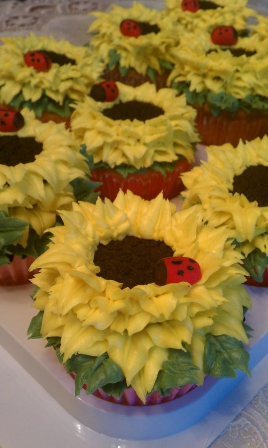 Sunflower cupcakes made with buttercream frosting and oreos with fondant lady bugs