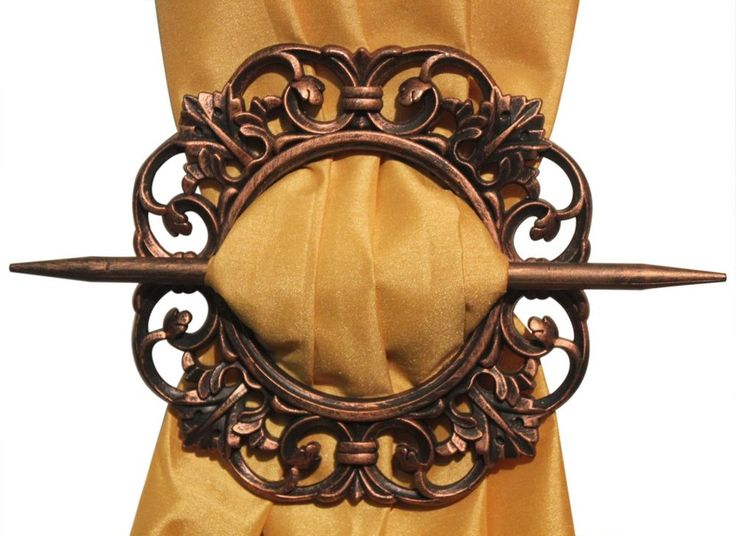 SET OF 2 DECORATIVE CURTAIN HOLDBACKS WINDOW CURTAIN TIEBACKS, ANTIQUE, 4 COLORS