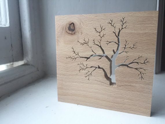 Wooden Beech Tree Silhouette by TheHairyScroller on Etsy