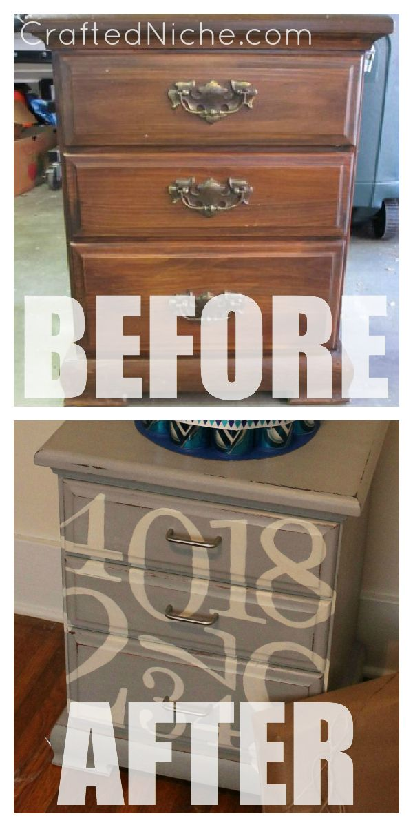 Nightstand makeover. Before and After Tutorial from Pottery Barn Knock-Off Inspiration.  Found at CraftedNiche.com: