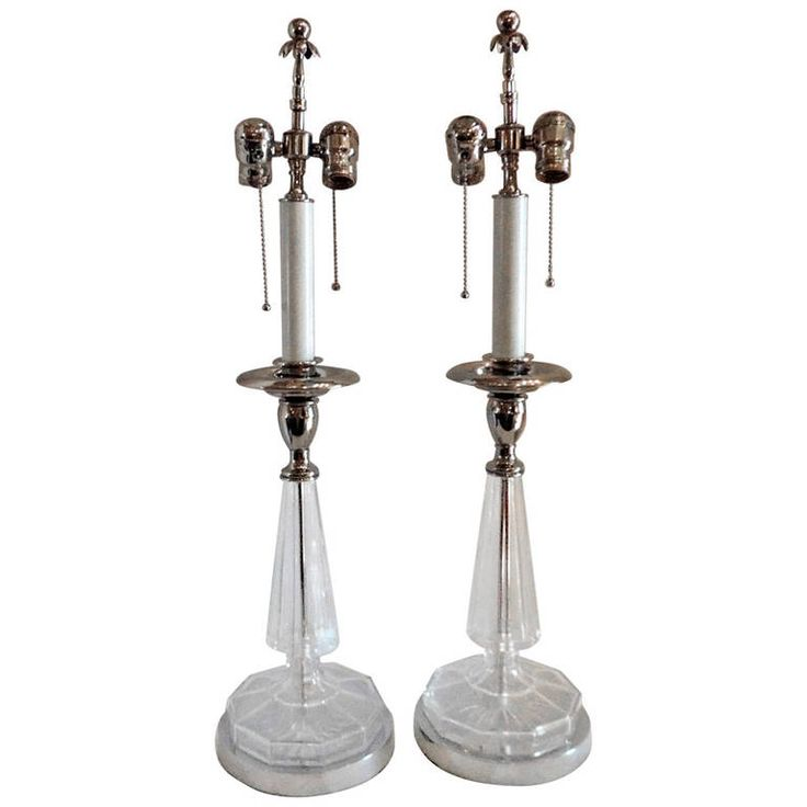 Wonderful Pair of Silvered Bronze and Crystal 2 Light Transitional Lamps | From a unique collection of antique and modern table lamps at https://www.1stdibs.com/furniture/lighting/table-lamps/