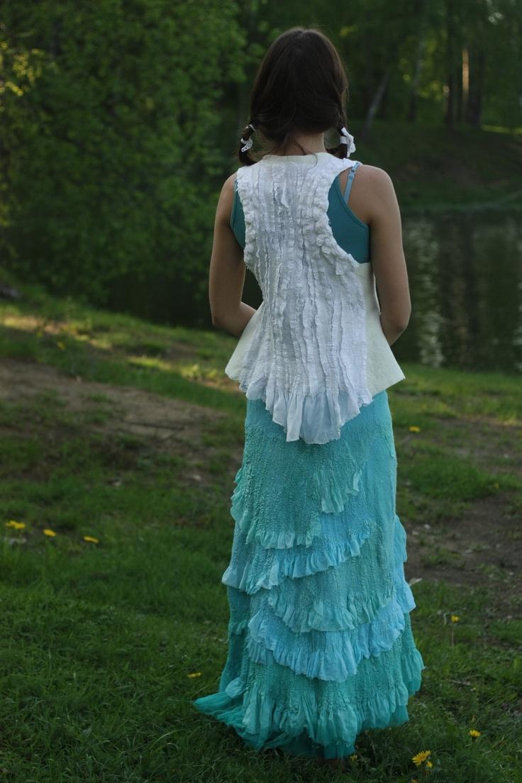 A Spoondrift Birth / Nuno-Felted Clothing / Skirt. $330.00, via Etsy.