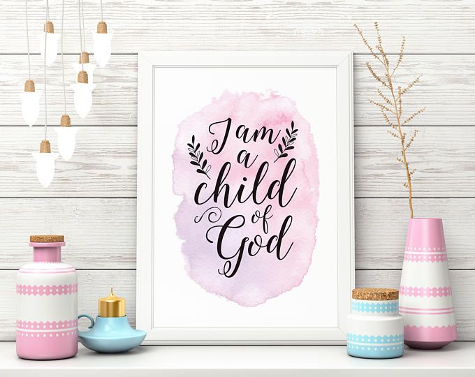 Child Of God Digital Download, Baby Girl, Gift, Wall Art, Pink Watercolour, Calligraphy
