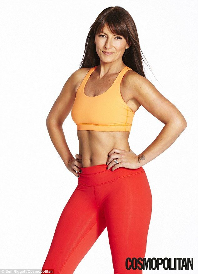 Toned: Davina McCall appears on the cover of Cosmopolitan Body wearing a sports crop top