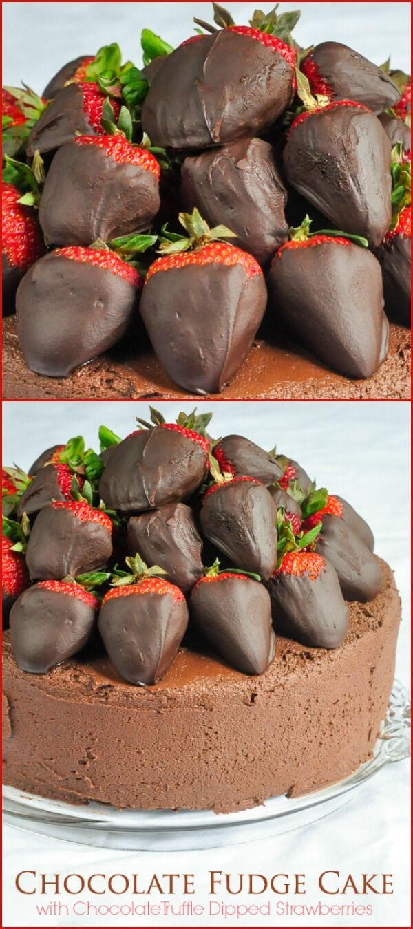 Chocolate Fudge Cake with Chocolate Truffle Dipped Strawberries - an easy one-bowl chocolate cake recipe covered in fudge frosting & topped with luscious chocolate truffle dipped berries!