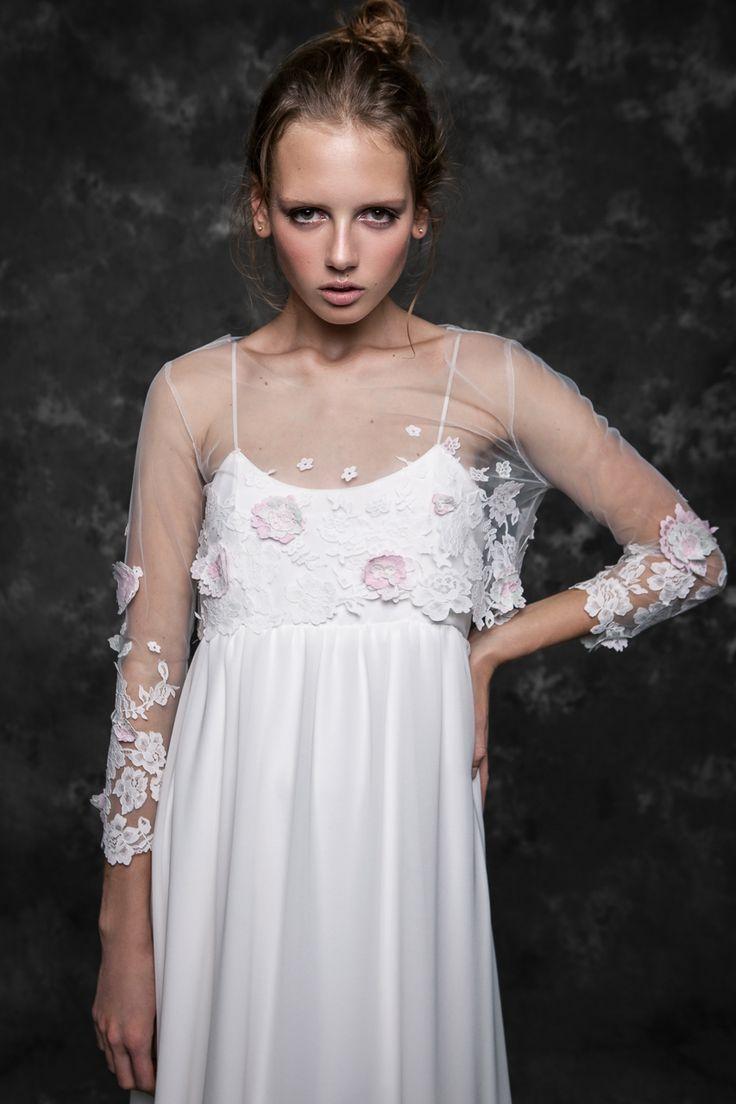 Pureza Mello Breyner Atelier - bridal boho dress in silk crepe and embroidered french lace #bride #modern #lace #cotton #silk #romantic #bridal #dress #designer #satin #handmade #by #measure #wedding #boho #pink #wedding