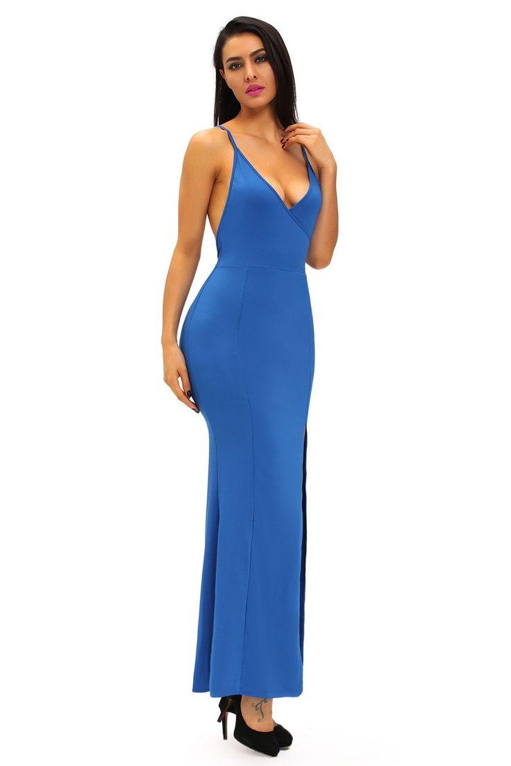 Robes Longues Bleu Croisillon Daring Retour Robe Pas Cher www.modebuy.com @Modebuy #Modebuy #Bleu #me #sexy #Bleu