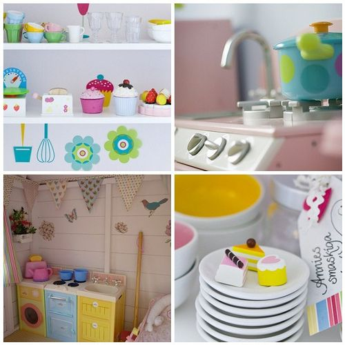 The ultimate play kitchen!  Adorable. Cubby house ideas as well cute blog site