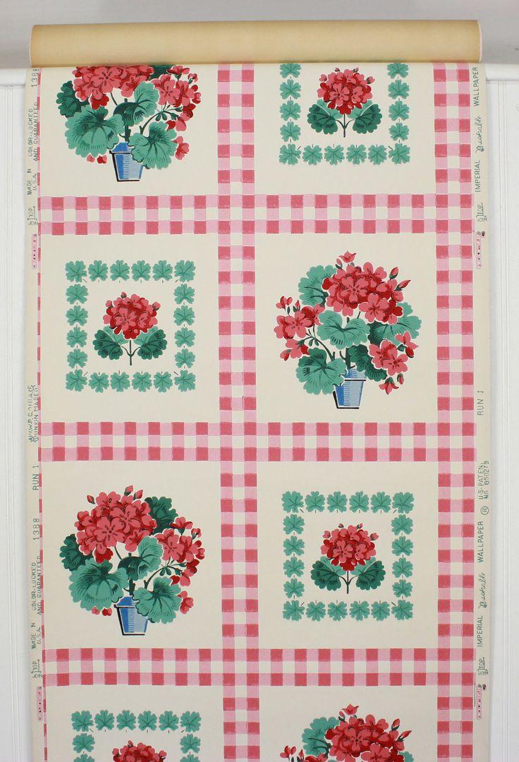 Vintage kitchen wallpaper patterns - 1940s Vintage Wallpaper Red Gingham Geraniums