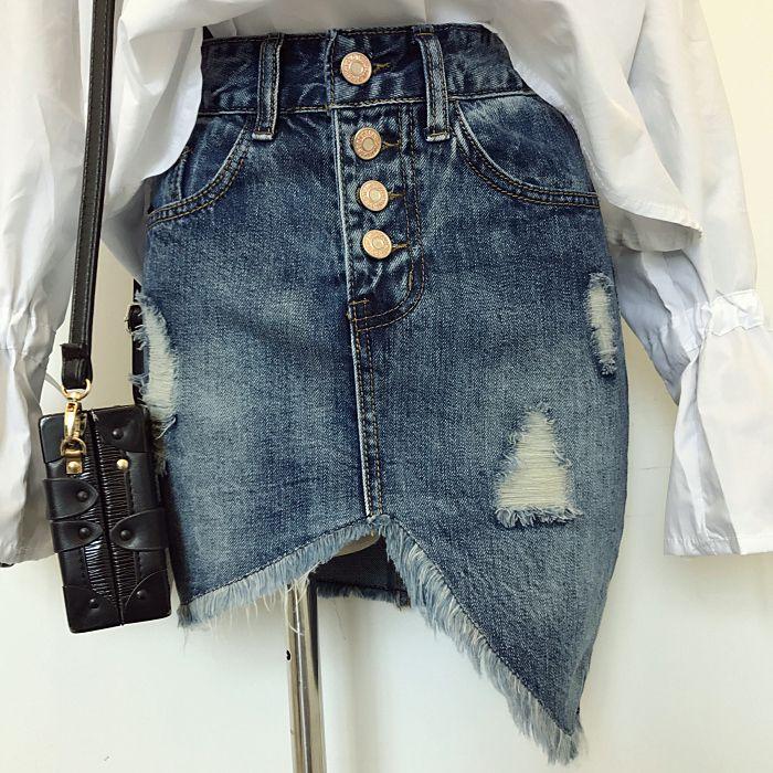 Korea Dongdaemun Denim Skirt ladies Button Down Irregular Cut Slide Fringe Ripped Skirt