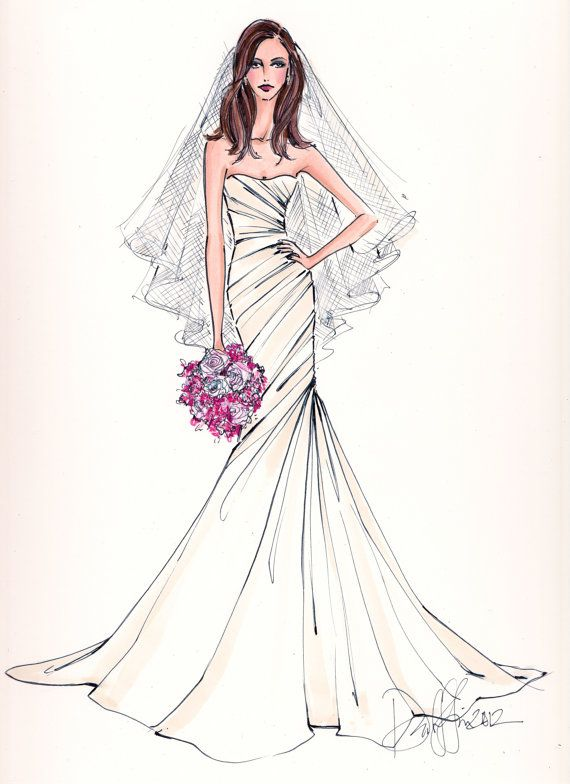 Nice Custom Wedding Gown Illustration FRONTAL by IllustrativeMoments