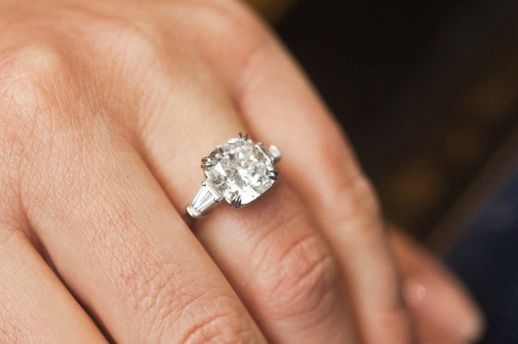 Cushion cut with tapered baguette side stones. Size 4.25 LOVE THIS!