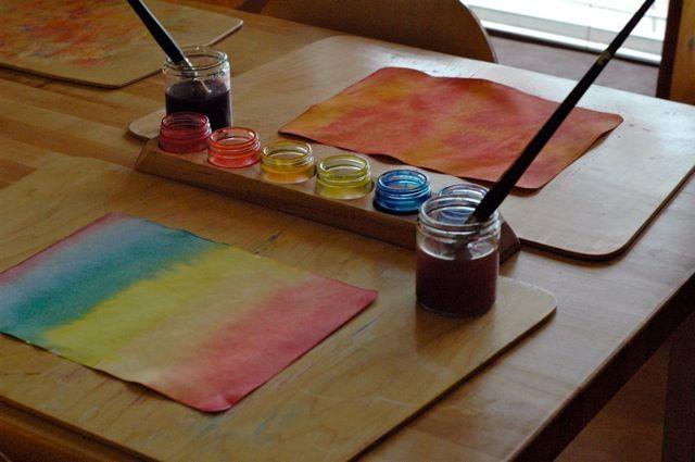 wet-on-wet paintingWatercolor Painting, Classroom Fun, Allowance Children, Waldorf Education, Waldorf Watercolors, Alternative Education, Wet On Wet Watercolors, Classroom Ideas, Watercolors Painting