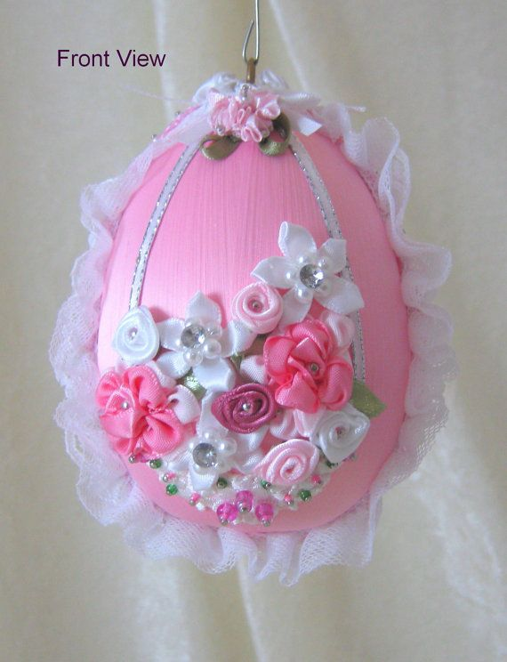 101EL Pink Floral Beaded Egg Ornament by WhiteHawkOriginals