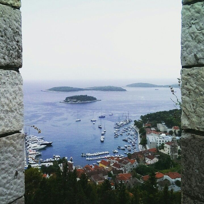 View of Hvar town and Pakleni islands from the castle, Croatia