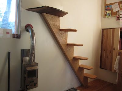 I was thinking something like this going up the wall of our bedroom, leading to the kids' sleeping loft.  Oakland Tiny House: tiny voids: the importance of empty space in the tiny house.