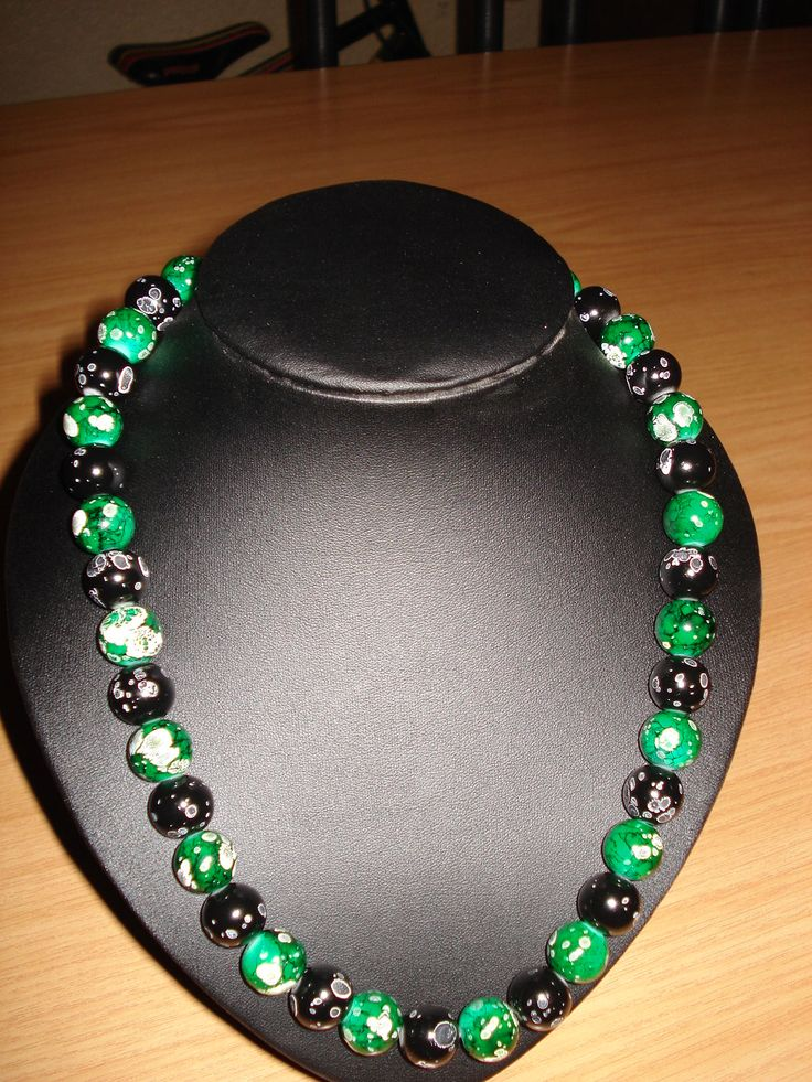 Green & Black White checkered Glass bead Necklace
