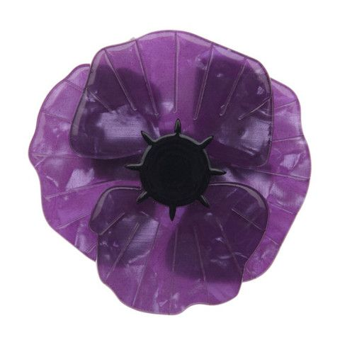"Erstwilder Limited Edition Poppy Field Brooch in purple. ""Heroes come in many form, lest we forget those courageous creatures great and small."""