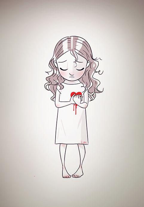 #girl #littlegirl #illustration #draw #picture #heart #blood #sad #blog #red