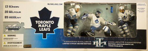 2002 - McFarlane Sportspicks / NHL - Series 3 - Toronto Maple Leafs - Canadian Exclusive 3-Pack Limited Boxed Edition - #13 Mats Sundin / #20 Eddie Belfour / #89 Alexander Mogilny Action Figures - Net & Bases Included - RARE - Out of Production - Limited Edition - Collectible by McFarlane Toys. $89.99. Out of Production - Net & Bases Included - Very Rare Set. Toronto Maple Leafs - Canadian Exclusive 3-Pack Limited Boxed Edition. 2002 - McFarlane Sportspicks / NHL - S...