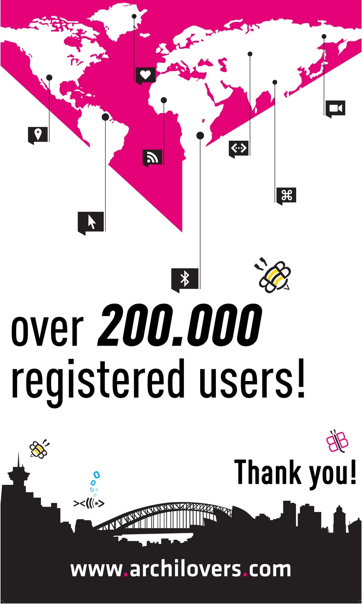 Today archilovers.com reached 200.000 registered users!   Thank you! #architecture #goal #socialmedia #socialnetwork #network