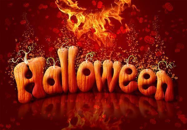 Create a Halloween pumpkin font text in Photoshop