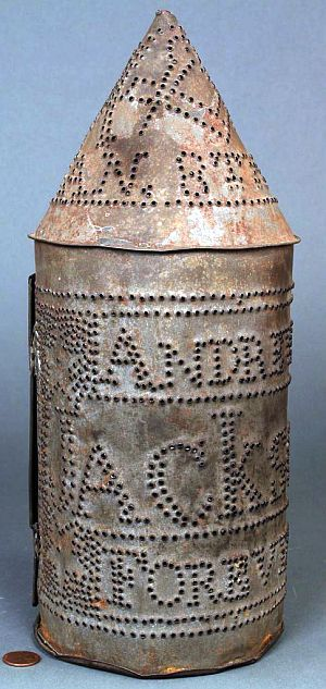 Punched Tin Andrew Jackson parade lantern, the punched design reading -Andrew Jackson Forever- across the body with - Jan 8th 1832- across the top.